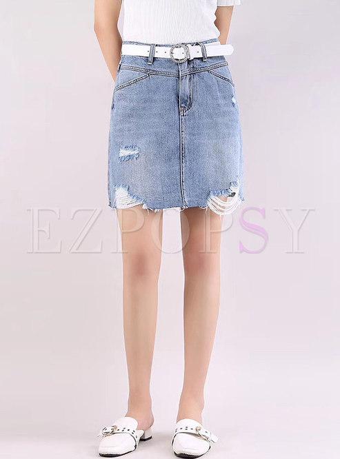 Chic Denim Shredded Rough Selvedge Slim Skirt
