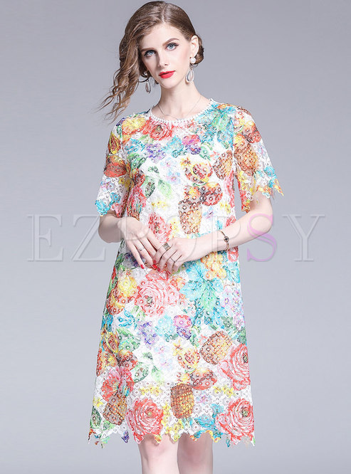Crew Neck Short Sleeve Print Lace Shift Dress