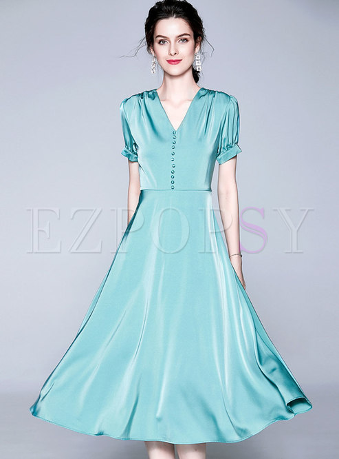 Elegant V-neck High Waist Slim A Line Dress