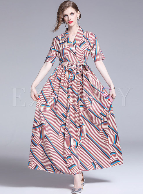 Summer Lapel Striped Tied Gathered Waist Maxi Dress