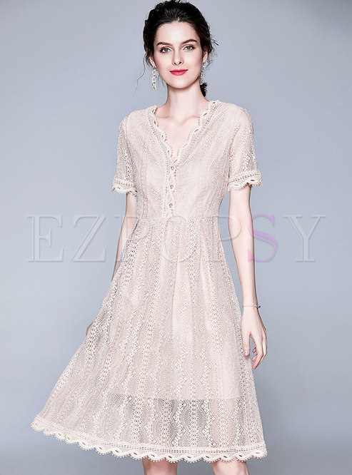 Brief Lace V-neck High Waist Midi Dress