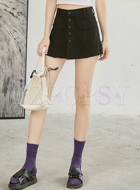 Stylish Black High Waist Single-breasted Shorts