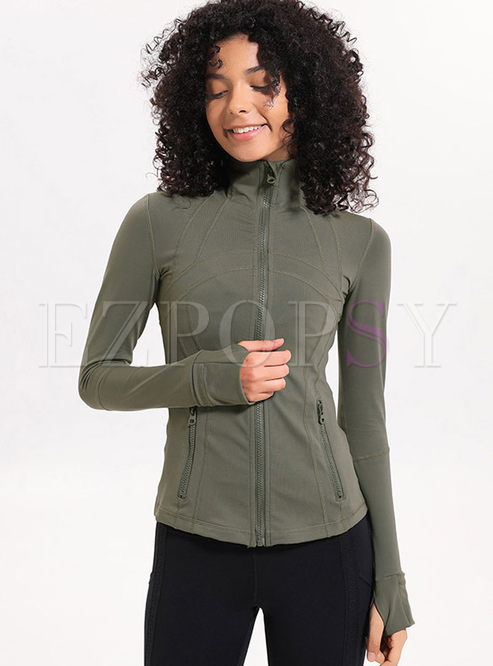 Brief Solid Color Long Sleeve Sports Jacket