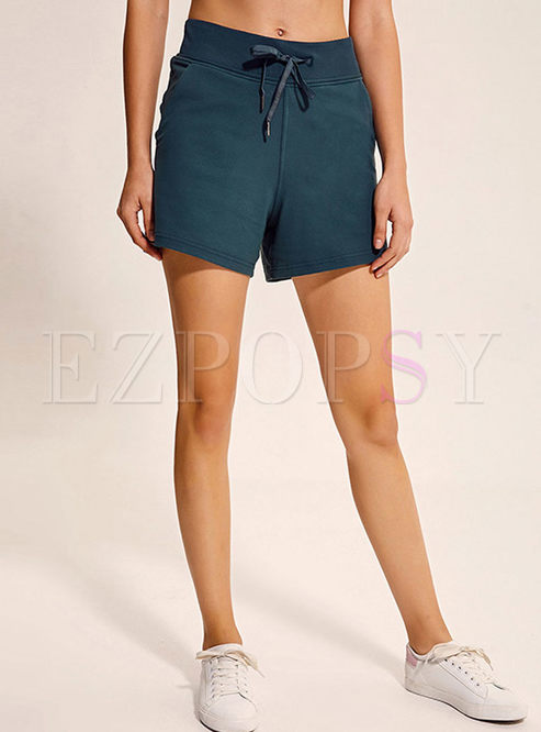 Elastic High Waist Straight Yoga Shorts