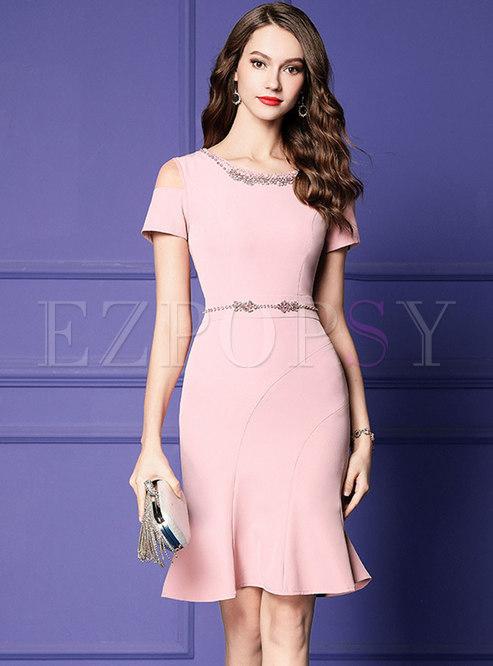 Pink Off Shoulder Beaded Sheath Mermaid Dress