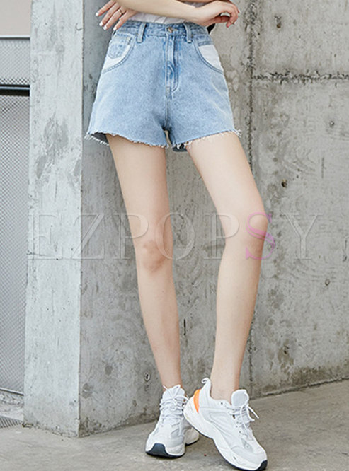 Casual Denim Color-blocked High Waist Shorts