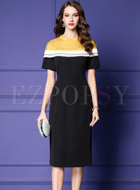 Color-blocked O-neck Gathered Waist Bodycon Dress