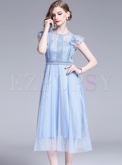 Fashion Lace Splicing Mesh Embroidered High Waist Skater Dress