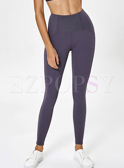 Brief Solid Color High Waist Tight Yoga Pants