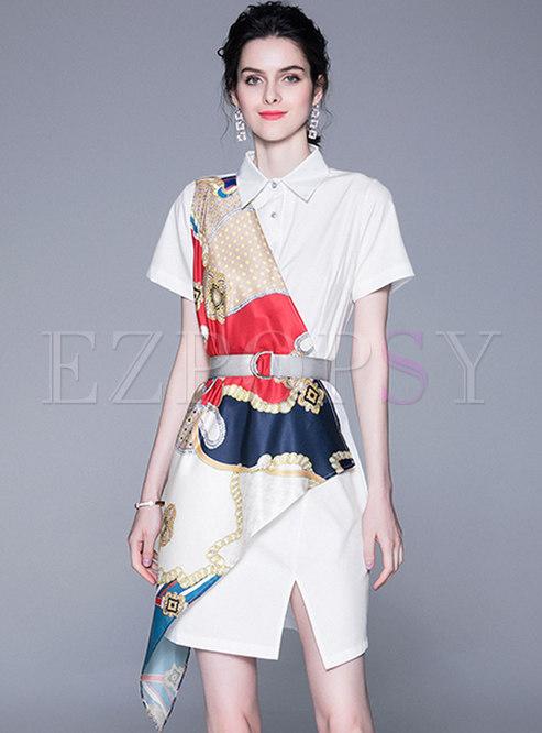 Chic Print Splicing Irregular Split T-shirt Dress