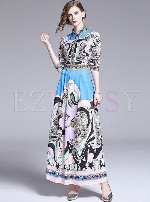 Fashion Print High Waist Slim Holiday Maxi Dress