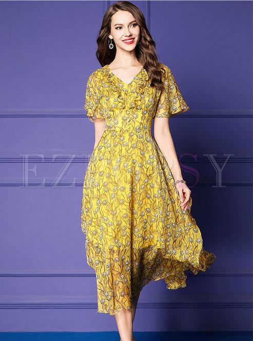 Chiffon Print V-neck High Waist Hem Slim Dress