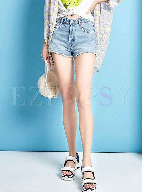 Fashion High Waist Straight Denim Shorts