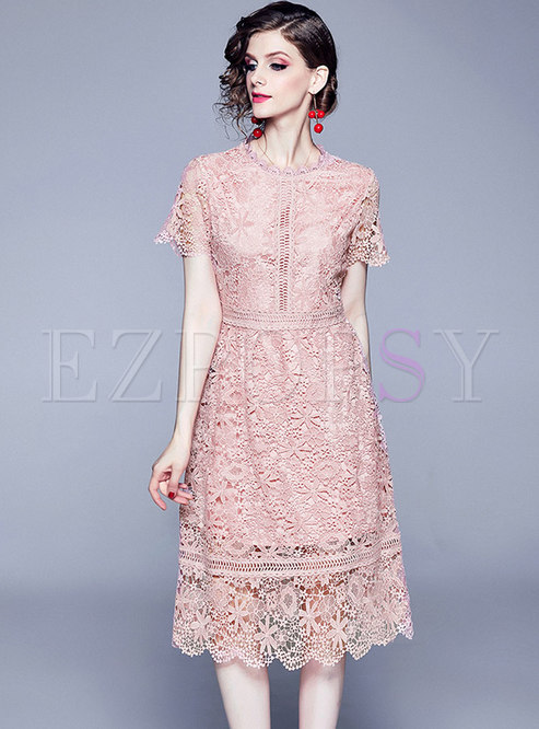 Summer O-neck Hollow Out Lace Pure Color Skater Dress