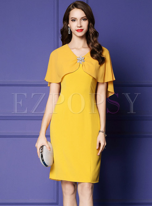 Elegant Cloak Sheath Slit Midi Dress