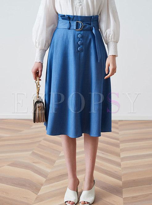 Stylish Solid Color Big Hem A Line Skirt