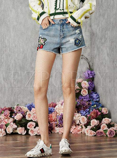 High Waist Patched Rough SelvedgeDenim Shorts