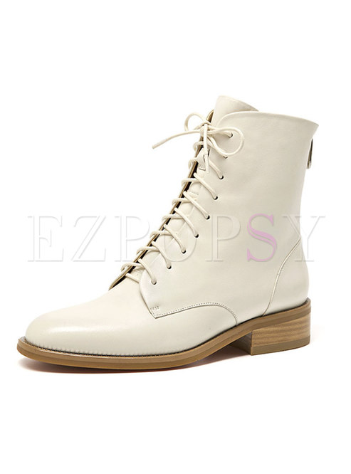 Chunky Heel Lace Up Round Toe Ankle Boots