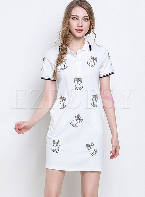 Casual Turn Down Collar Cat Embroidered Dress