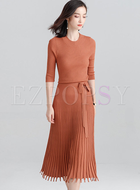 Stylish Pure Color Tied Gathered Waist Knitted Dress