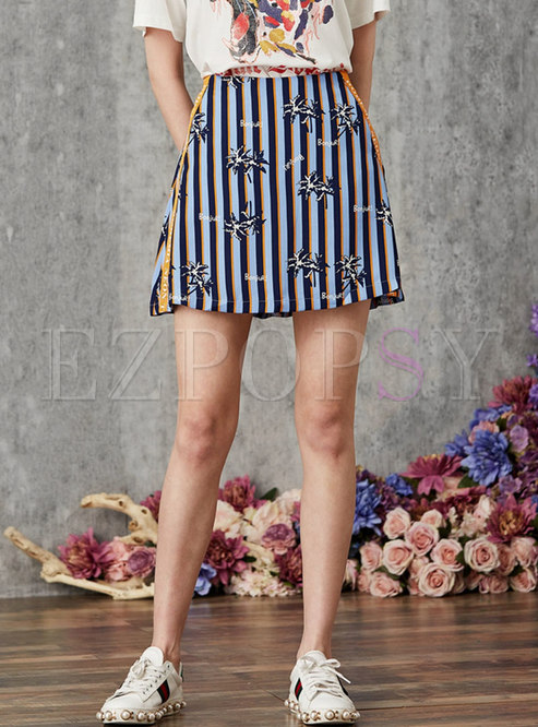 Chic Letter Print All-matched Striped Mini Skirt