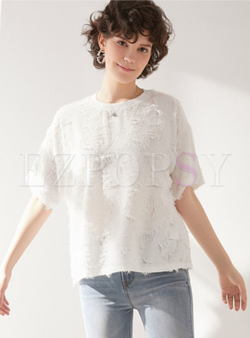 Stylish O-neck Hollow Out Tassel T-shirt