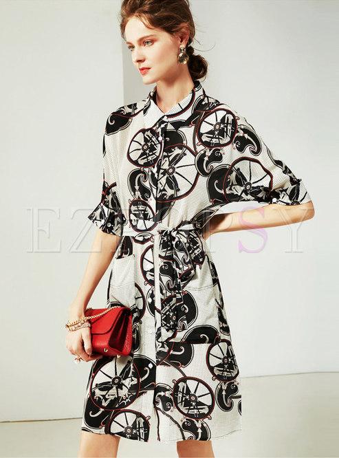 Trendy Print Silk Half Sleeve Slim T-shirt Dress