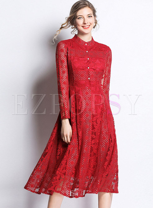 Lace Stand Collar Long Sleeve Slim Skater Dress