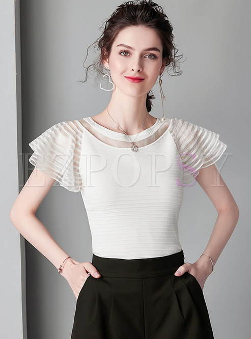 Chic Mesh Splicing O-neck Slim Knitted Top