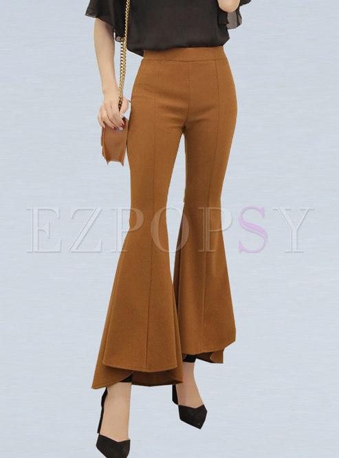 Chic Irregular High Waist All-matched Flare Pants