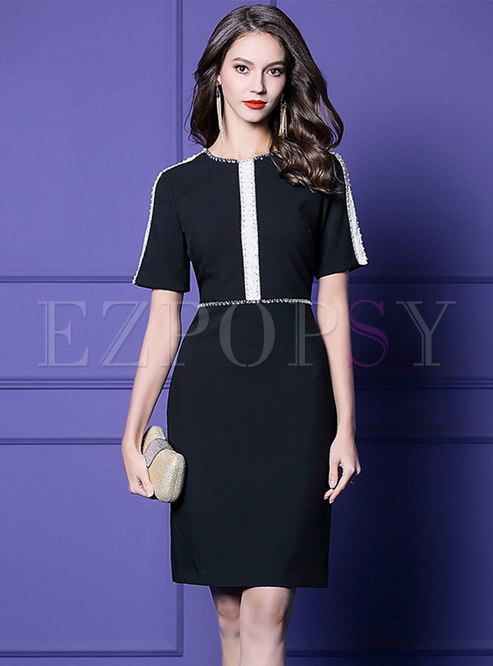 Color-blocked Drilling High Waist Bodycon Dress