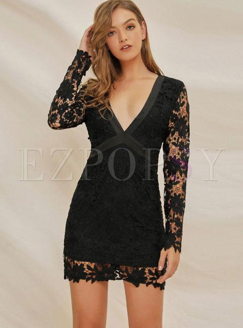 Black Long Sleeve Backless Bowknot Mini Dress