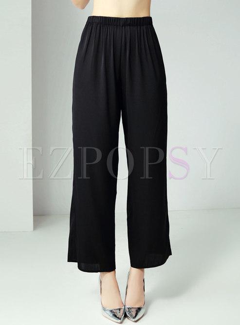 All-matched Summer Black Slim Wide Leg Pants
