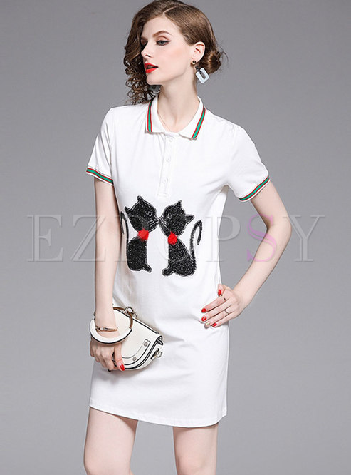 Summer Cartoon Cat Diamond-ironing T-shirt Dress