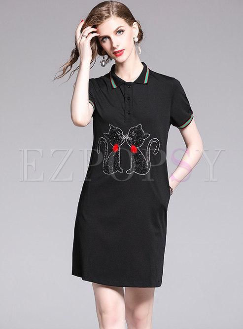 Brief Summer Cartoon Diamond-ironing Black T-shirt Dress