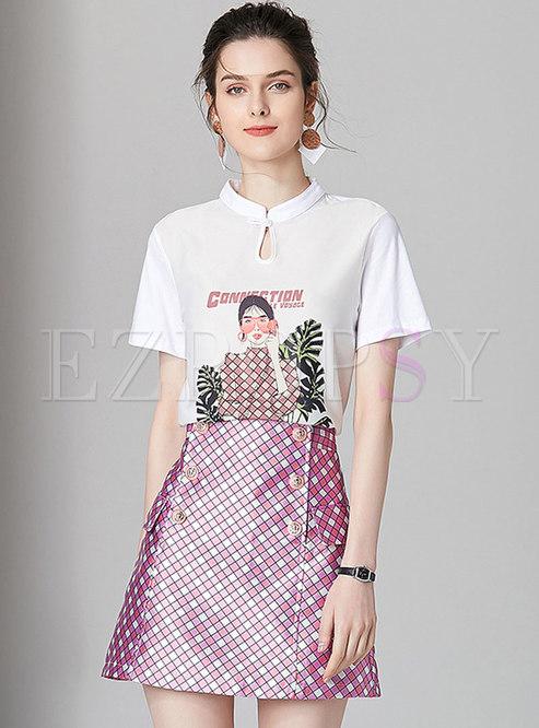 Fashion Personality Print T-shirt & Plaid A Line Skirt