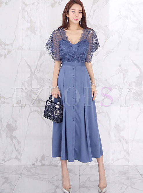 V-neck Transparent Lace Patchwork Big Hem Dress