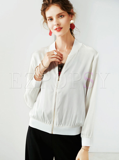 Casual White Perspective Stand Collar Silk Thin Coat