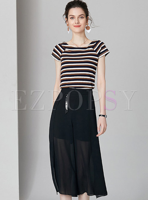 Brief Striped Knitted Top & Mesh Wide Leg Pants