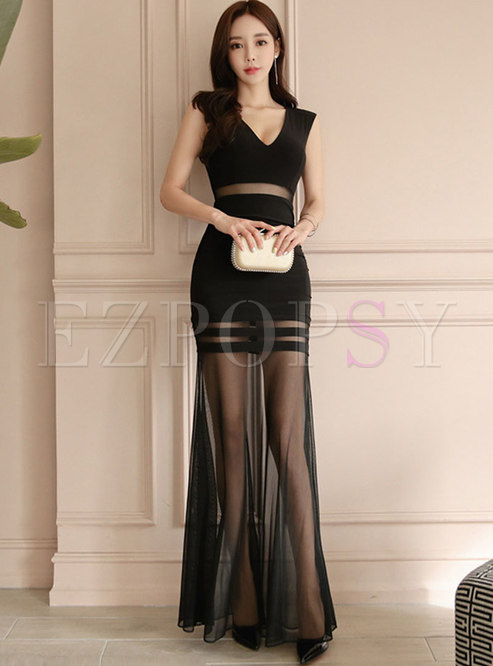 Stylish V-neck Mesh Perspective High Waist Party Maxi Dress