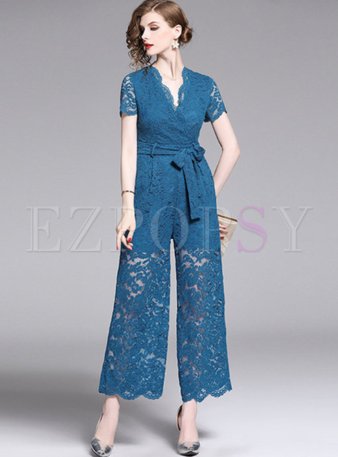 Fashion Lace V-neck Tied See-though Jumpsuit