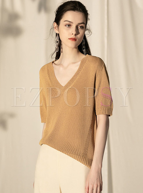V-neck Pure Color Short Sleeve Pullover Sweater