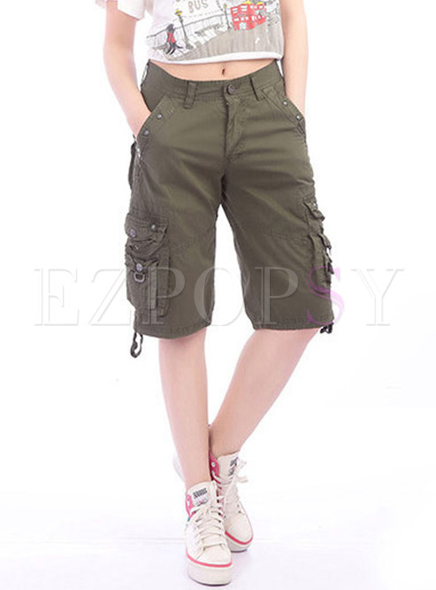 Solid Color Women's Multi-pocket Loose Cargo Pants