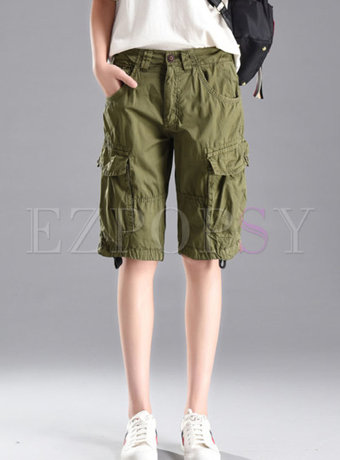 Casual Multi-pocket Cotton Straight Five Cargo Pants
