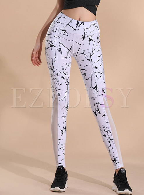 Mesh Splicing Print Breathable Yoga Pants