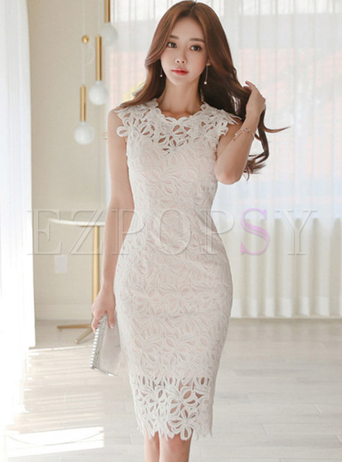 Sexy Lace Pure Color Hollow Out Sleeveless Bodycon Dress