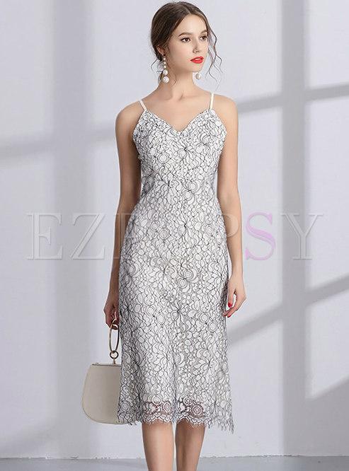 Chic Lace Floral V-neck Backless Sheath Slip Dress