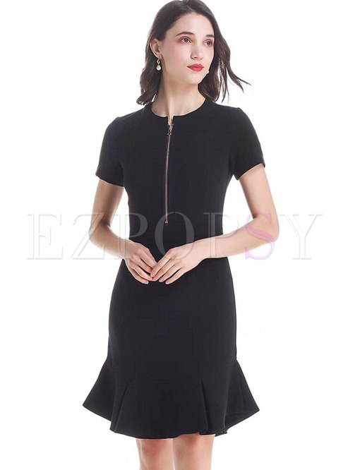Pure Color Zipper Short Sleeve Mermaid Dress