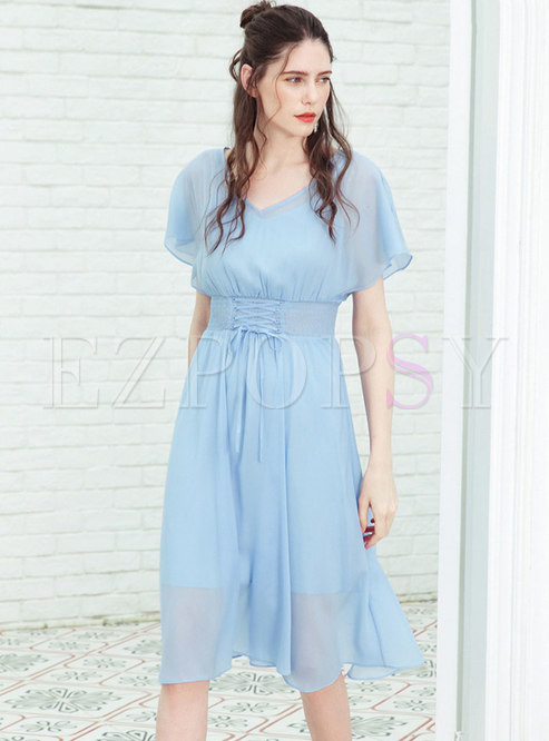 Casual Pure Color Gathered Waist Tied Skater Dress