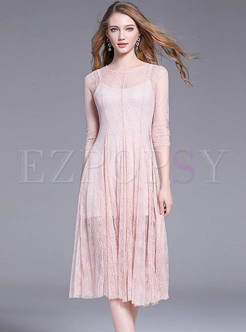 Chic Lace See-though Hollow Out Pleated Dress